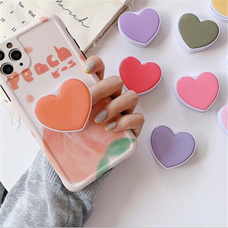 Macaron Color Heart Love Expanding Stand Grip Mount Phone Socket Fold Mobile Smartphone Pocket Desktop Phone Stand Holder