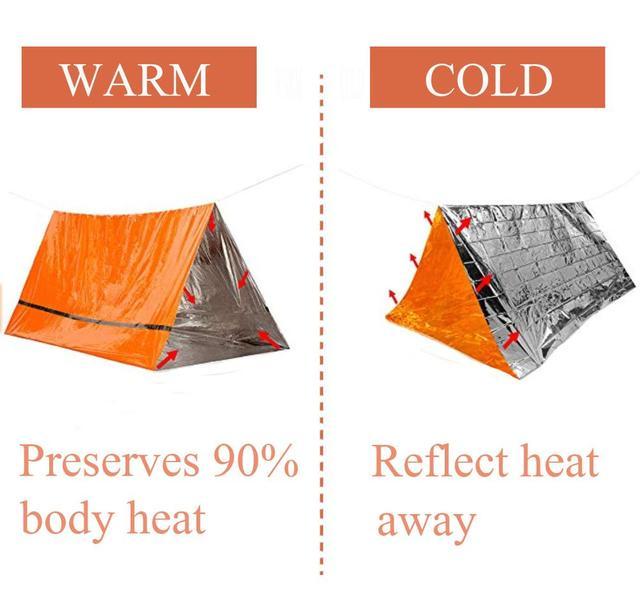 2Person Emergency Shelter Waterproof Thermal Blanket Rescue Survival Kit SOS Sleeping Bag Survival Tube Emergency Tent w Whistle 1