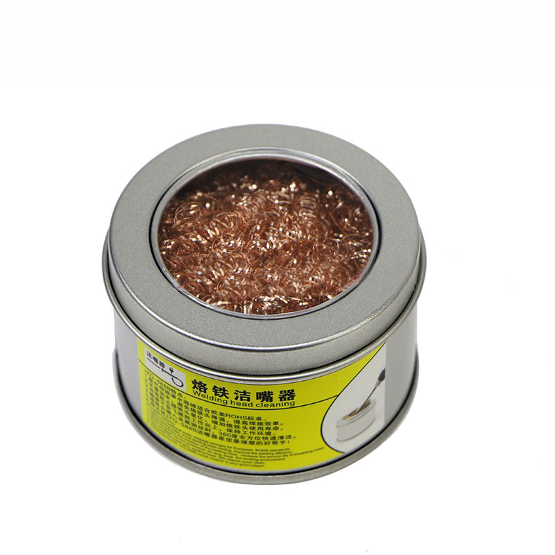 Color: A Soldering Desoldering soldering iron mesh filter cleaning nozzle tip copper wire ball clean ball dross box Cleaning Ball