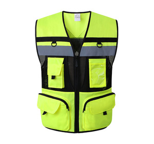 Image 2 - Outdoor Multi pockets Security Traffic Work Clothes Reflective Vest High Visibility Warning Safety Vest Fluorescent Clothing