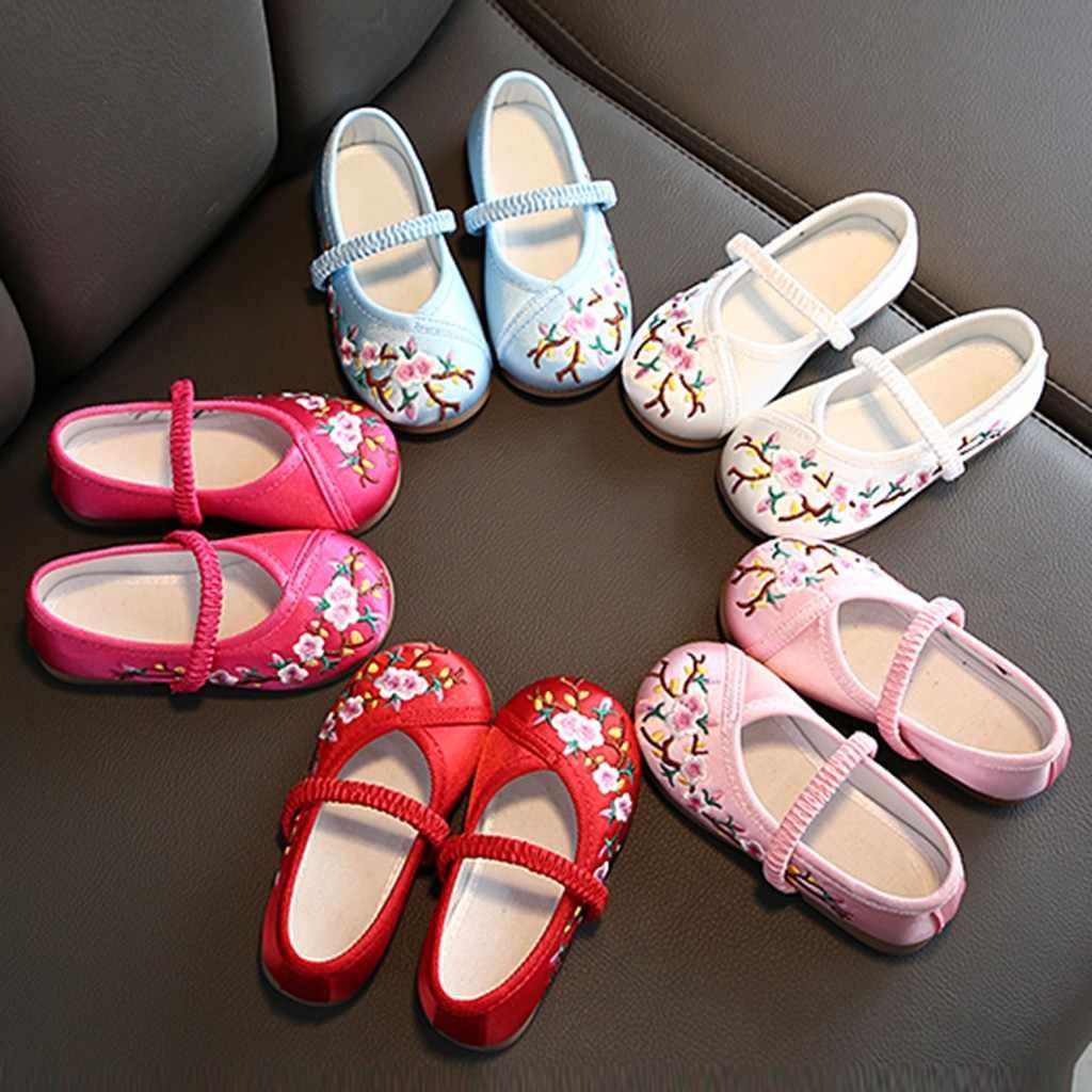 เด็กวัยหัดเดินเด็กทารกเด็กหญิงเย็บปักถักร้อยดอกไม้เจ้าหญิงเดี่ยวรองเท้าชุดเด็กคุณภาพสูง