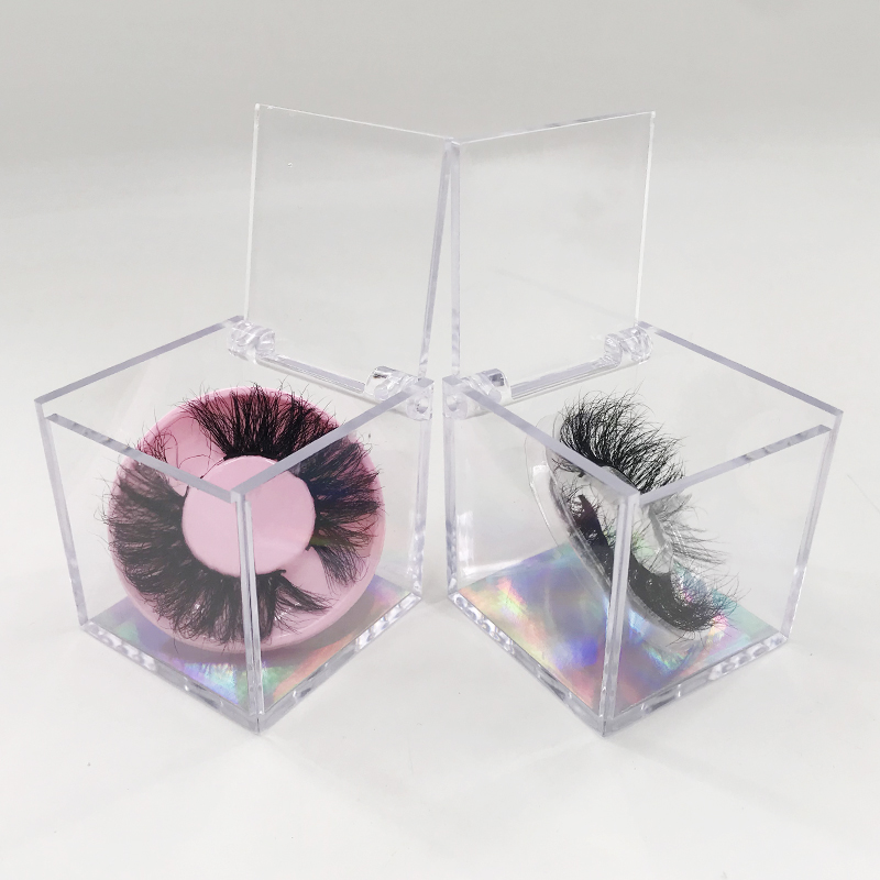 Closeout DealsLash-Box Square Empty Mink-Lashes Crystal-Clear 27mm 25mm Dramatic for Packaging New-Arrival