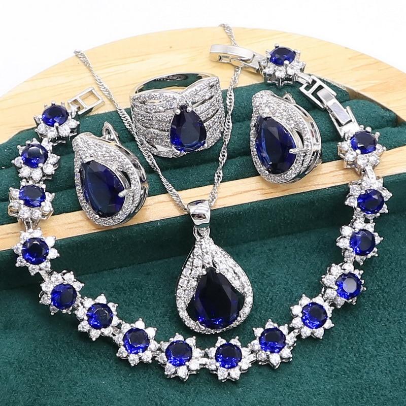 Royal Blue Sapphire 925 Sterling Silver Jewelry set for Women Bracelet Hoop Earrings Necklace pendant Ring