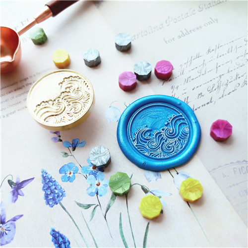 Stamp Head Of Sea Wave Sealing Stamps Retro Wood Stamp Wax Seal Stamp Wedding Decorative Sealing Stamp Wax Seals