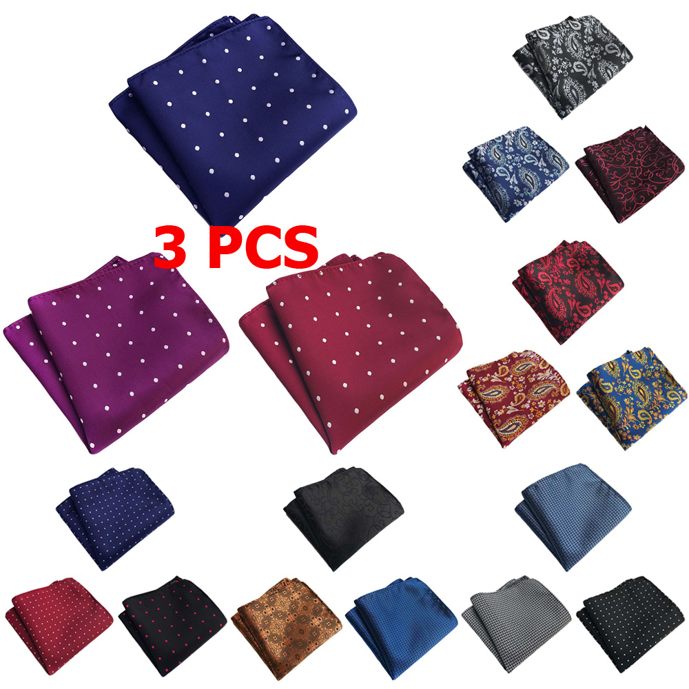 3 PCS Men Classic Paisley Polka Dots Pocket Square Handkerchief Wedding Hanky