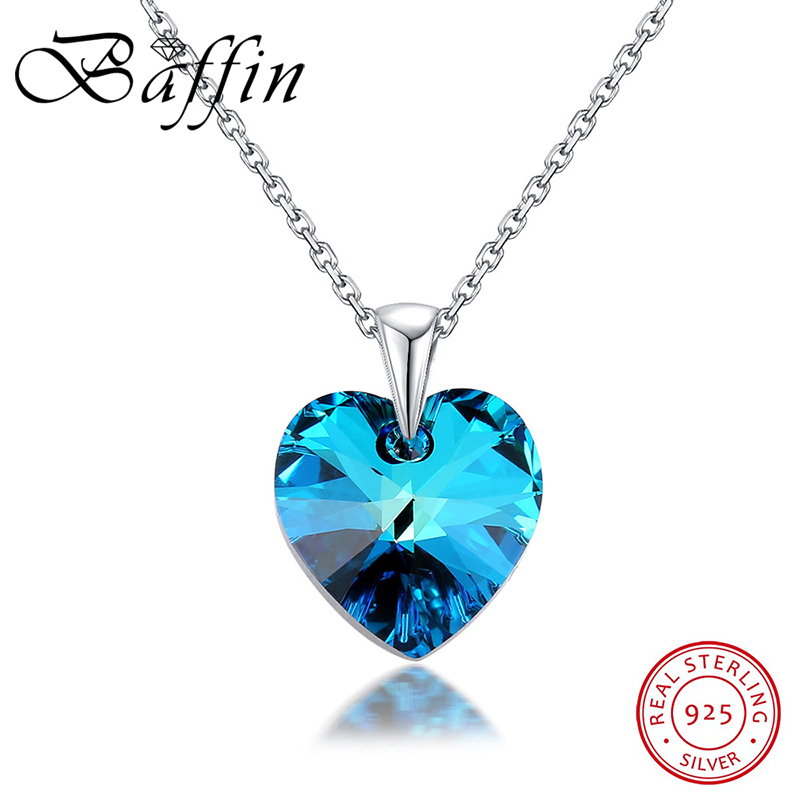 Original Crystals From Swarovski-Elements Heart Pendant Necklace For Women Real 925 Silver Collares Lovers Valentine's Day Gift