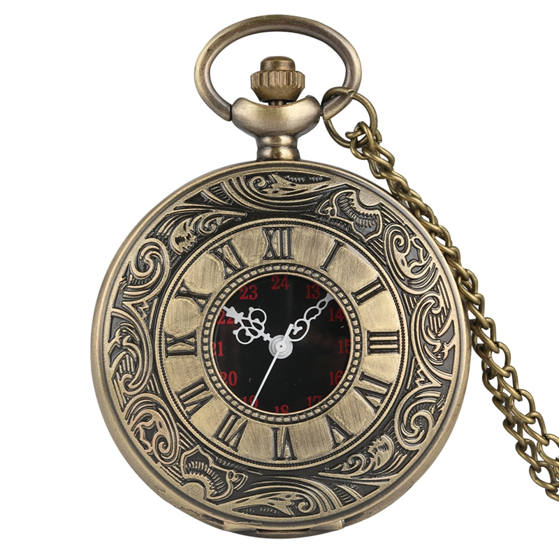 Watches ... Pocket & Fob Watches ... 2048310958 ... 5 ... Fashion Black Retro Bronze Roman Dial Quartz Vintage Antique Pocket Watch 80cm Chain Necklace Pendant Watches Gift for Men Women ...