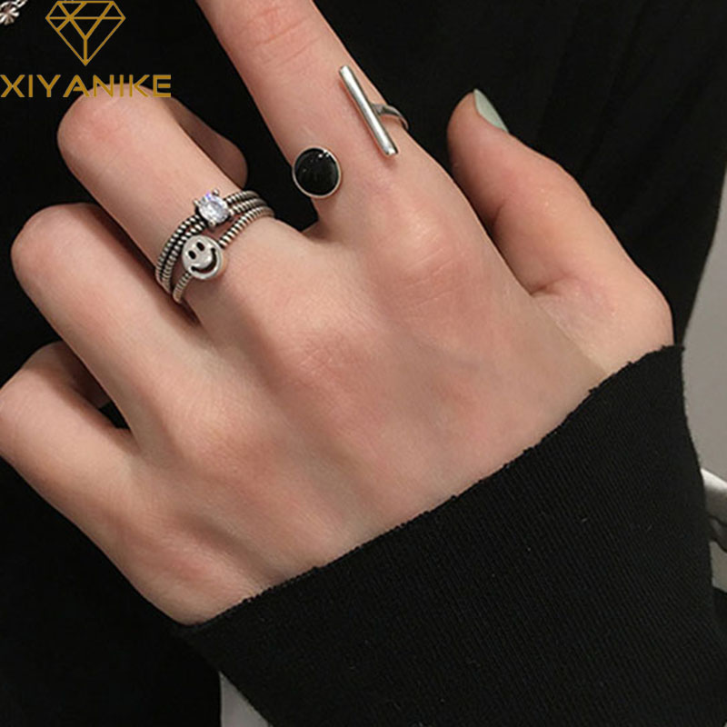 XIYANIKE 925 Sterling Silver Vintage Fashion Finger Rings Jewelry Gifts For Women Couple Creative Smiling Face Party Accessories