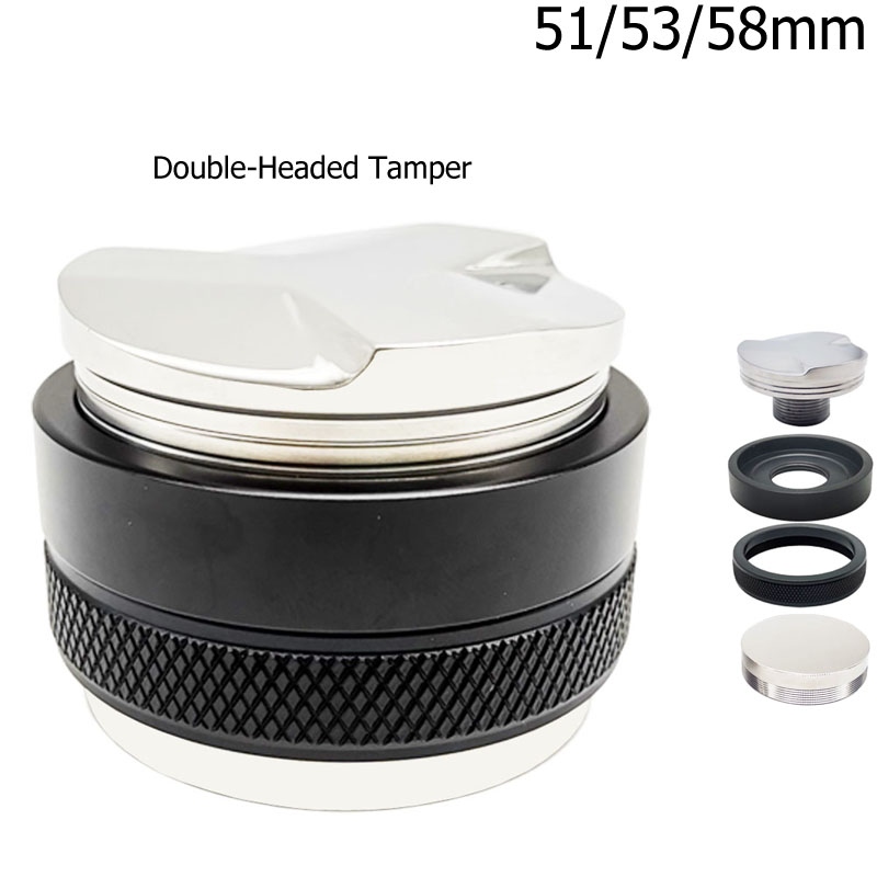 Espresso Coffee Porfilter Filter 51/53/58mm 304 Stainless Steel 3 Angled Slopes and Flat Base Double Head Coffee Tamper