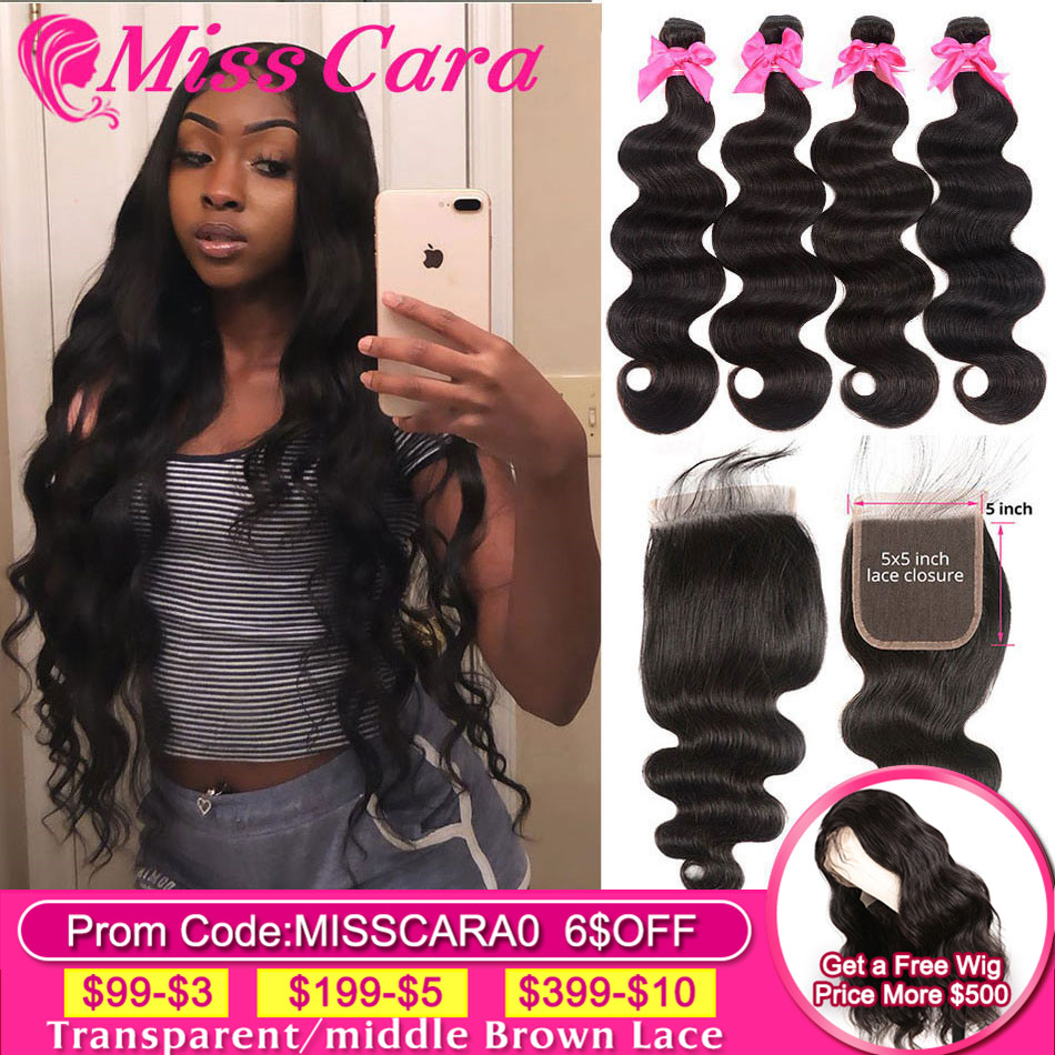 Miss Cara Remy Body Wave With 5x5 Closure Brazilian Hair Weave Bundles With Closure 100% Human Hair 3/4 Bundles With Closure
