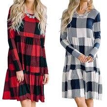 Vestidos ropa mujer, зимние женские клетчатые осенние повседневные свободные винтажные Лоскутные рождественские платья с длинным рукавом, женские вечерние платья
