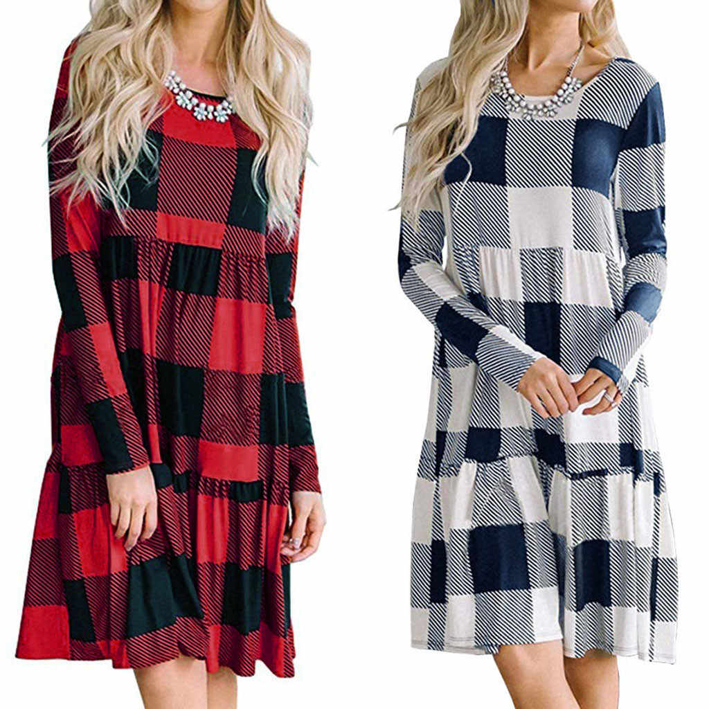 Vestidos ropa mujer winter Dames Plaid Lange Mouwen Herfst Casual Losse Vintage Patchwork kerst jurken vrouw party night