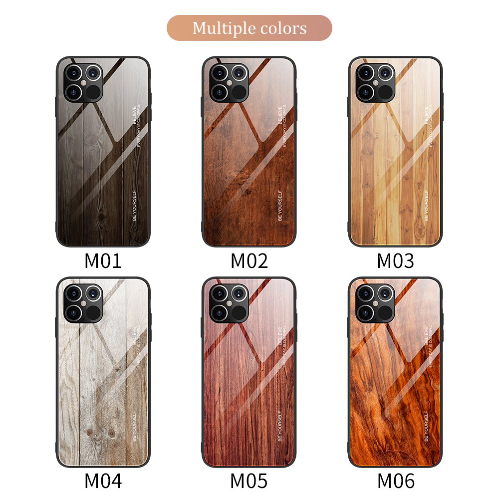 Luxury Wood Grain Slim Tempered Glass Case For iPhone 12 Pro Max