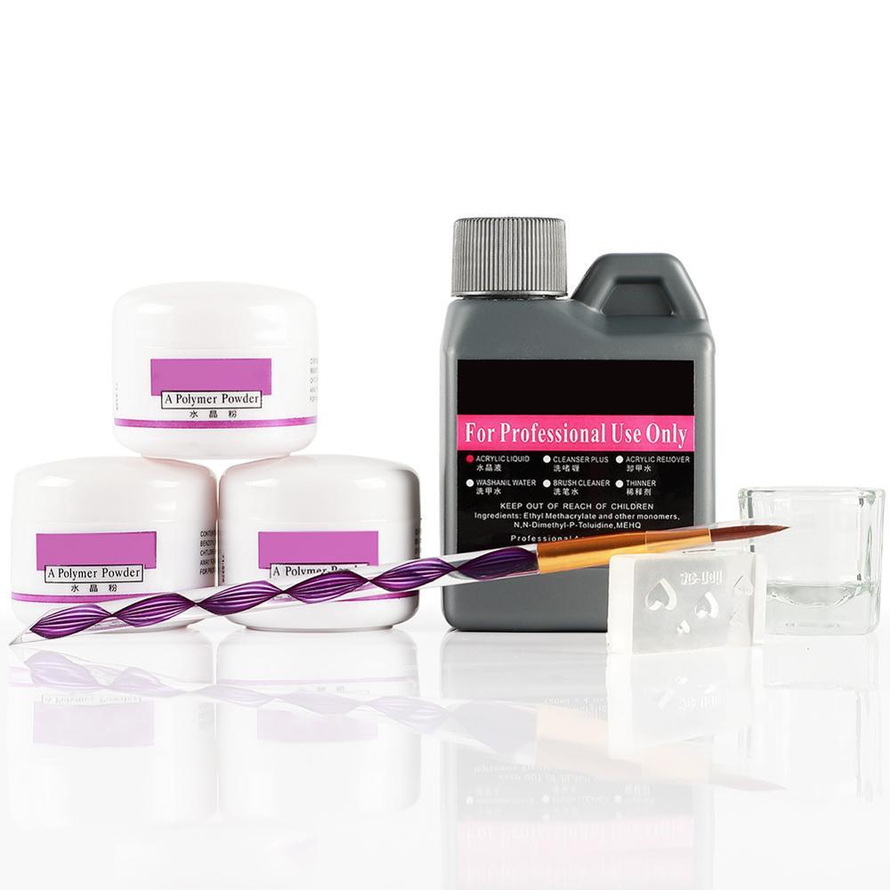 7 Pcs/Set Acrylic Powder Acrylic Nail Kit Crystal Nail Polymer Acrylic For Nails Set For Manicure Need UV Lamp Nail Art Brush