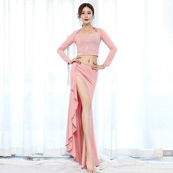 BellyDanceCostumeSetProfessional Ladies Pink Bollywood Dance Costumes CarnivalBellyDancing Stage Performance Wear DN5236
