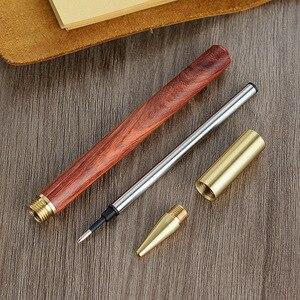 Image 4 - 3 adet/grup ahşap pirinç tükenmez kalemler 0.5mm mürekkep tükenmez kalem yazma için toptan 2026