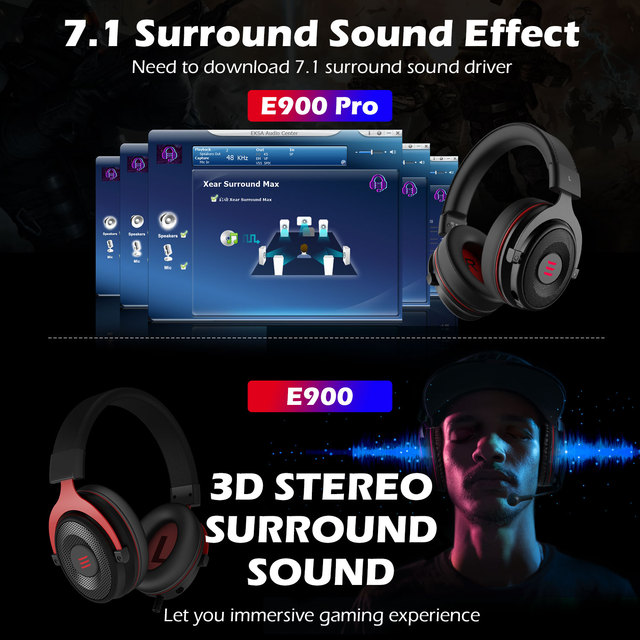 EKSA Gaming Headset with Microphone E900 Pro 7.1 Surround Headset Gamer USB/3.5mm Wired Headphones For PC PS4 Xbox one Earphones 2