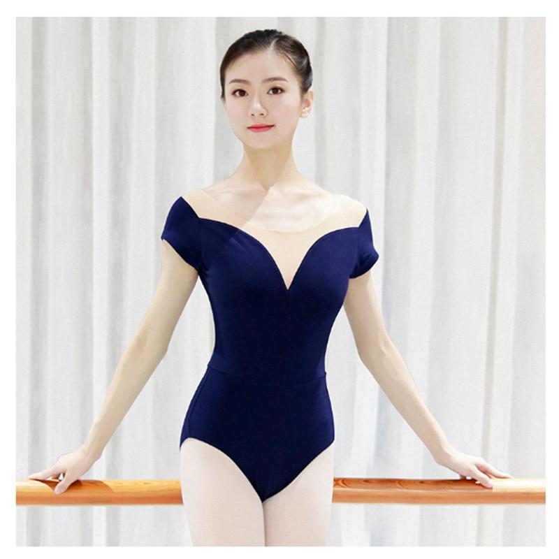 Ballet Leotards For Women Adult Sexy Neckline Cotton Soft Mesh Gymnastics Leotard Ballet Costumes