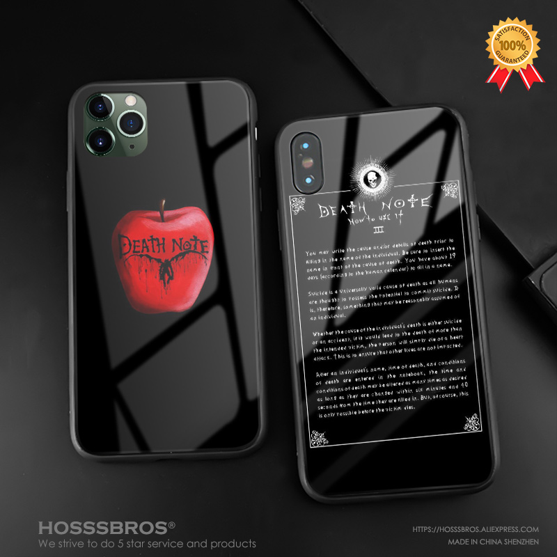 Death Note anime L Light Yagami soft silicone glass Phone case cover For apple iPhone 6 6s 7 8 Plus X XR XS 11 Pro MAX