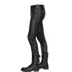 Модные мужские брюки из натуральной кожи, 2020, новые зимние прямые брюки в байкерском стиле, длинные брюки с флисовой подкладкой в стиле панк