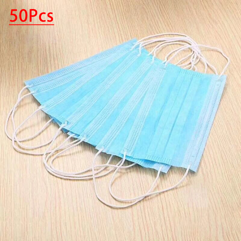Hot Sale 50 Pcs Blue Face Mouth Masks Non Woven Disposable Anti-Dust Surgical Earloops Surgical Masks 3-Ply Nonwoven Respirators