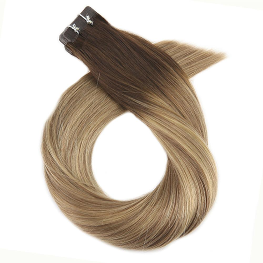 Moresoo 14-24 Inch Tape In Human Hair Extensions Balayage Color Skin Weft Remy Brazilian Hair 2.5g/pcs Straight Natural Hair