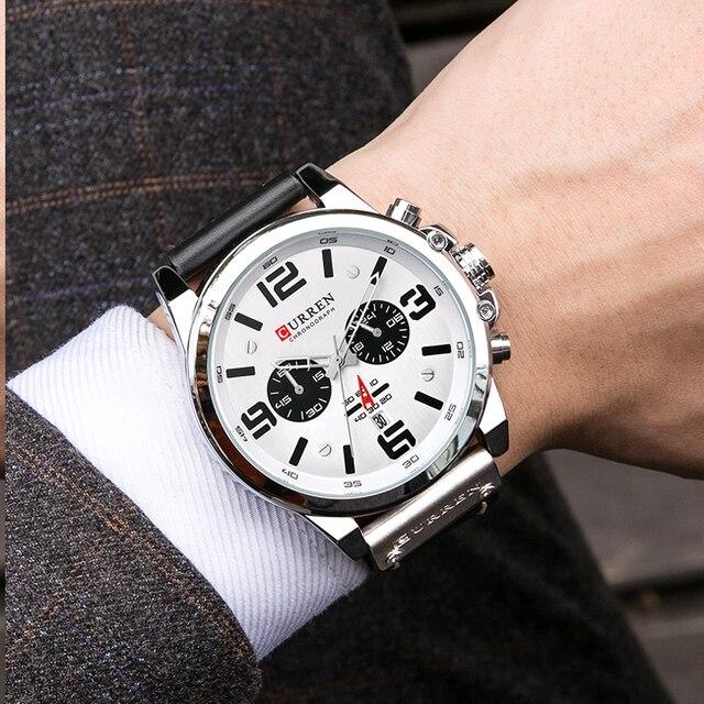 Curren 8314 marca de luxo quartzo relógio masculino militar à prova dmilitary água pulseira couro esporte dos homens relógios moda casual masculino clock clock clock 6