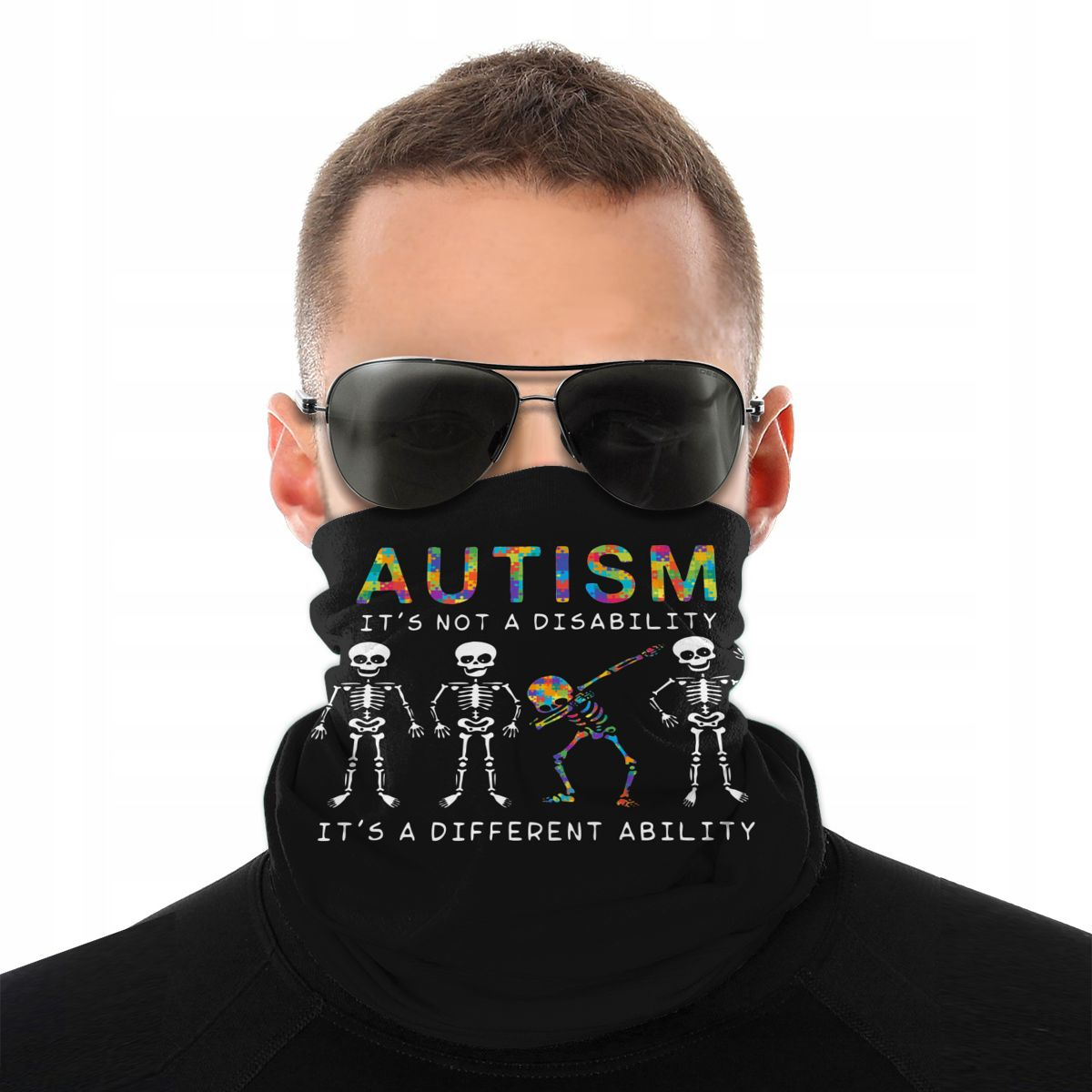 Autism Dabbing Skeleton Magic Scarf Neck Face Mask Unisex Tube Scarf Tubular Bandanas Multi-functional Headwear Cycling Hiking