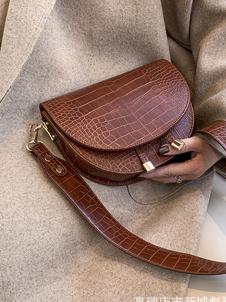 Crossbody-Bag Crocodile Designer Women Luxury Fashion Saddle Soft for Ladies Handbags