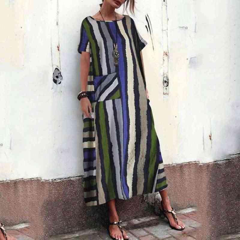 ZANZEA 2020 lato kobiety z krótkim rękawem Sundress czeski pasiasta sukienka maksi szata Femme sukienki Kaftan 5XL duży rozmiar plaża Vestido