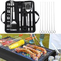 Stainless Steel BBQ Set Barbecue Grilling Tools Set BBQ Utensil Accessories Camping Outdoor Cooking Tools Kit With Carry Bag Box