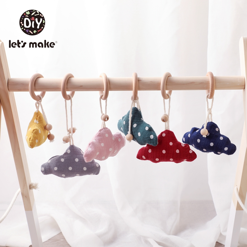Let's Make Children's <font><b>Toys</b></font> Mobile On The Bed Kids <font><b>Toys</b></font> For Toddlers Cotton Filling Bell 1PC Cloud Soft <font><b>New</b></font> <font><b>Born</b></font> Wooden Rattle image