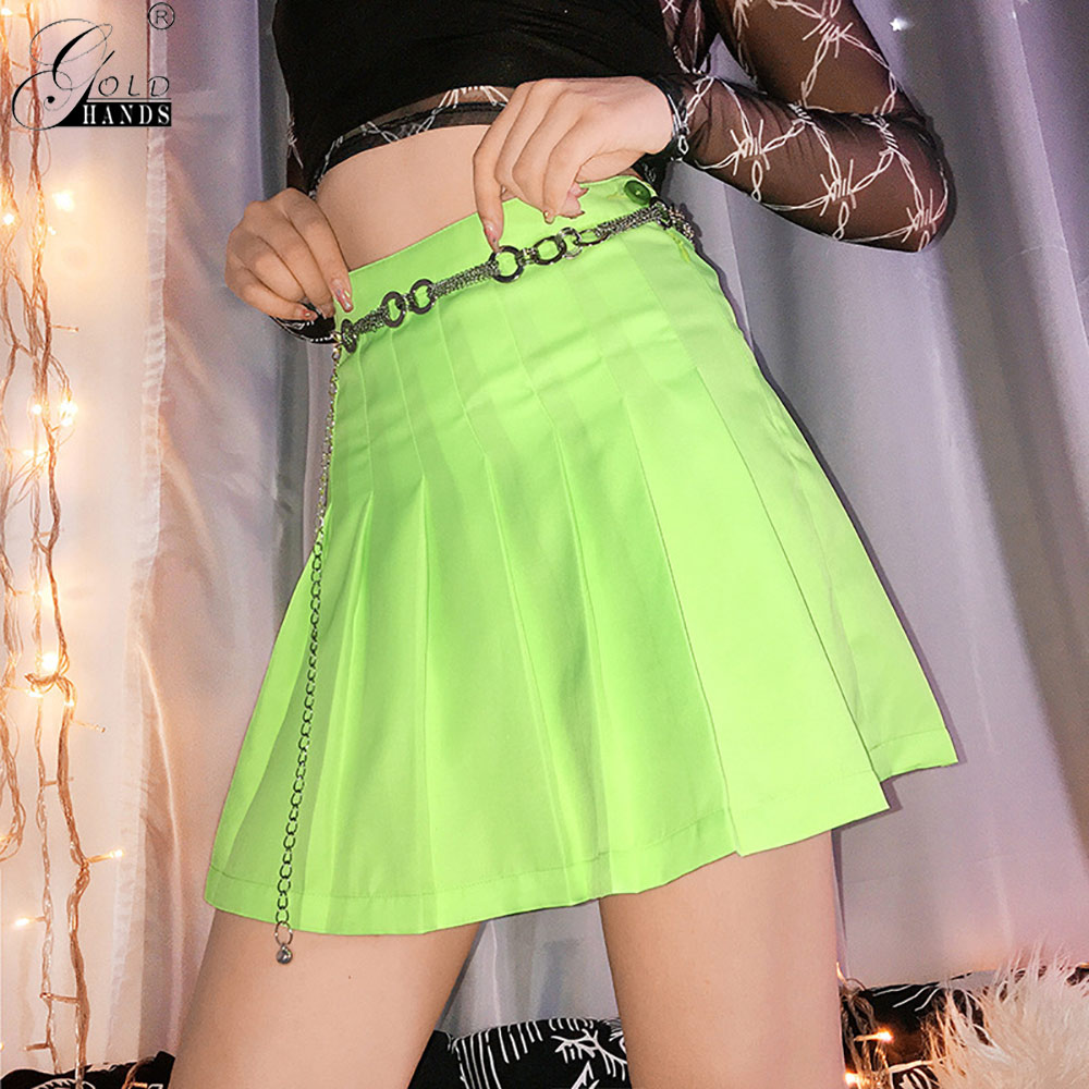 Gold Hands Mini Skirt Harajuku Neon Green Pleated Skirt Summer Casual A-line High Waist  Women Dance Mini Skirt Ladies Preppy