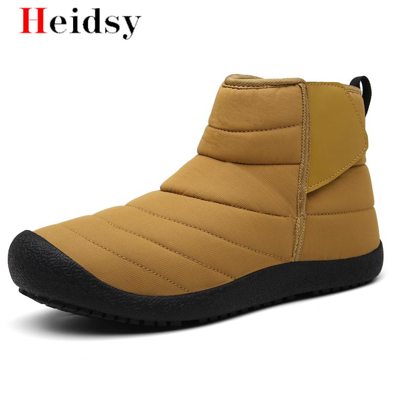 New Fashion Men Boots High Quality Unisex Waterproof Mid Waist Boots Shoes Warm Fur Plush Hook & Loop Winter Shoes Free Shipping