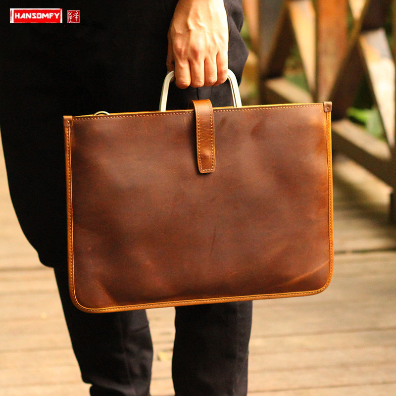 Leather Men's Bag Horizontal Section Men Briefcase Ultra-thin Document Bag Male Laptop Bag Retro Crazy Horse Leather Handbags