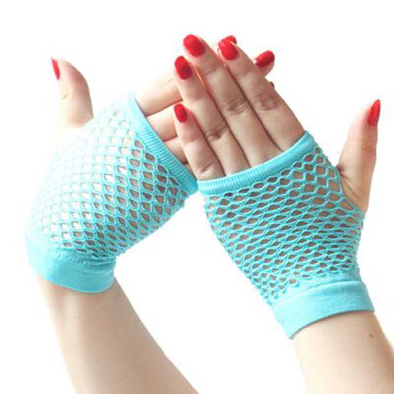 2020 New Style1 Pair Hollow Out Fingerless Gloves Grid Multiple Colour Fishing Net Punk Personality Slim Trendy Women's Gloves