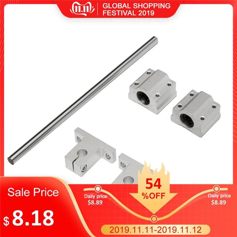 5 pces 200mm-1000mm scs8uu/sk8 8mm eixo 200-1000mm comprimento óptico linear trilho guia cnc conjunto de aço carbono
