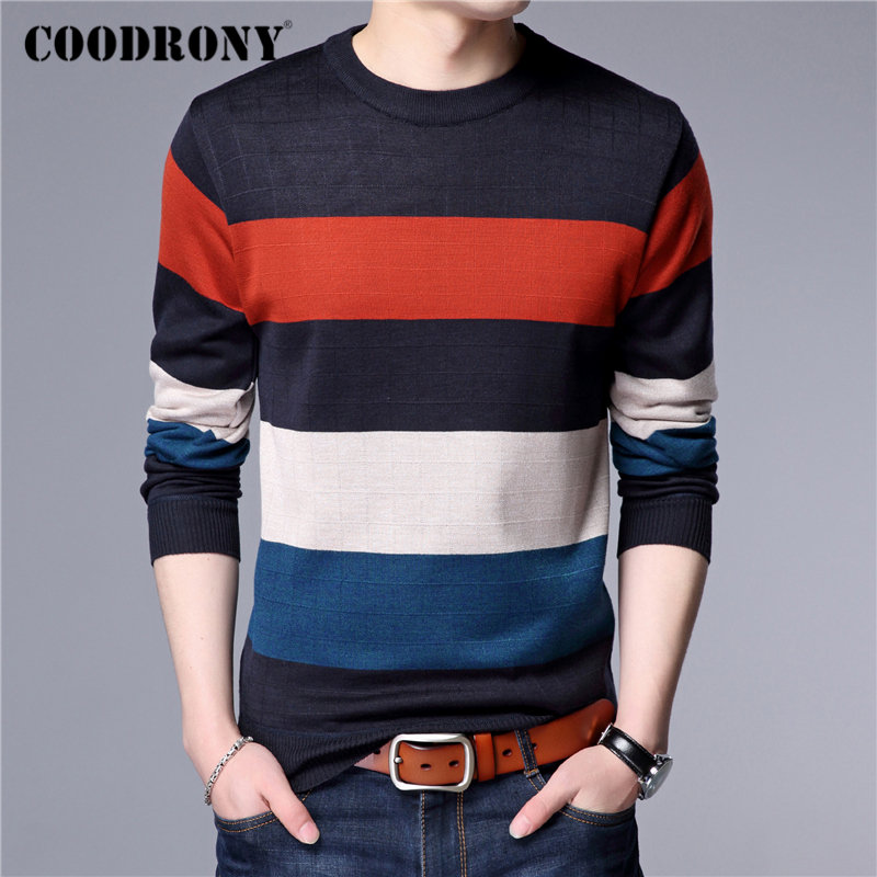 COODRONY Brand Sweater Men Casual O-neck Pull Homme Fashion Striped Cotton Pullover Men Autumn Winter Soft Jumper Sweaters 91083