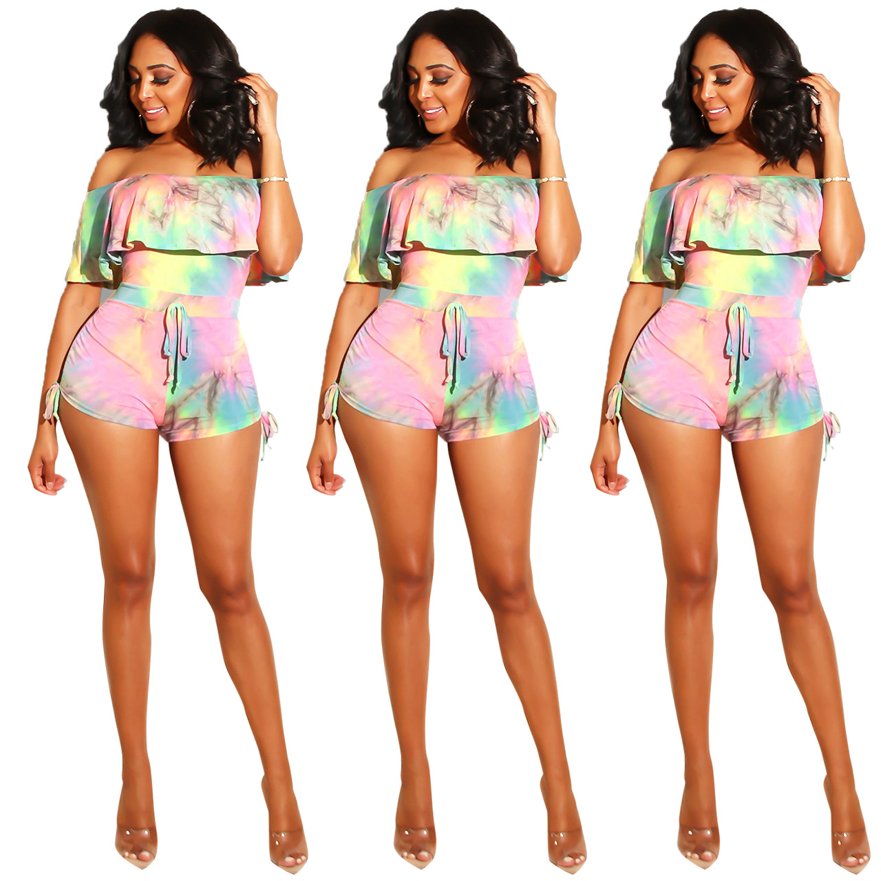 Q227 Europe And America Hot Selling Sexy WOMEN'S Dress Nightclub Gradient Ink Horizontal Neck Flounced Tight-Style Onesie