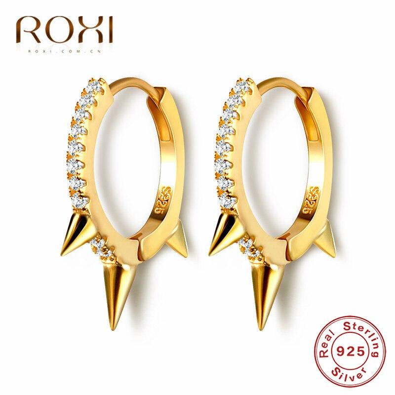 ROXI 100% 925 en argent Sterling Punk Rivet petit ouvert boucles doreilles cerceau zircon cubique pointe boucles doreilles pour les femmes mode bijoux cadeaux