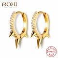 ROXI 100% 925 Sterling Silber Punk Niet Kleine Öffnen Hoop Ohrringe Zirkonia Spike Ohrringe für Frauen Mode Schmuck Geschenke