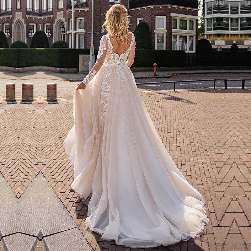 Long Sleeve Lace Wedding Dresses Allpiqued Bridal Gowns 2020  Boho Bride Dress White Vestido De Noiva Plus Size Backless