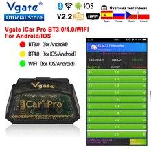 Vgate icar برو OBD2 ELM327 بلوتوث سيارة التشخيص OBD OBD2 ماسحة elm 327 OBDII قانون القارئ odb2 تشخيص محول الساخن بيع