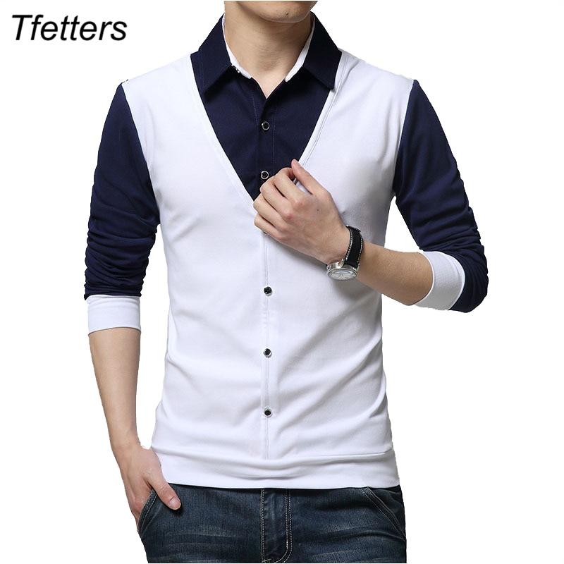 TFETTERS Brand Autumn Mens T Shirts Fashion 2021 Fake Two Designer Clothing Cool T-shirt Men Long Sleeve T Shirt Casual Male