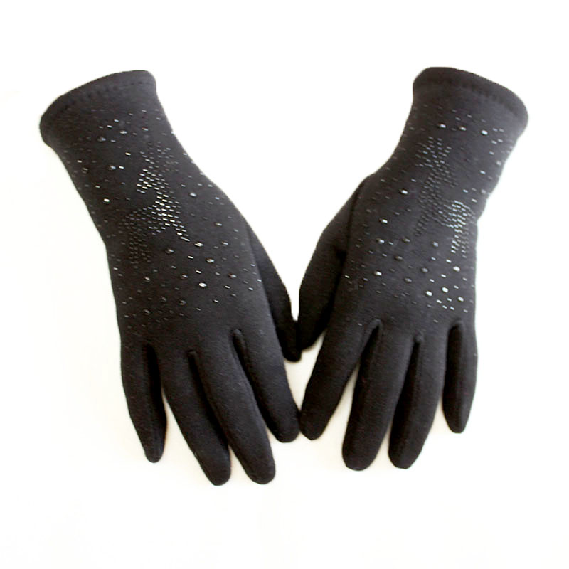 Cotton Gloves Women's Black Elastic Hot Drilling Knit Ladies Touch Screen Gloves Girls Outdoor Cycling Autumn Warm Gloves