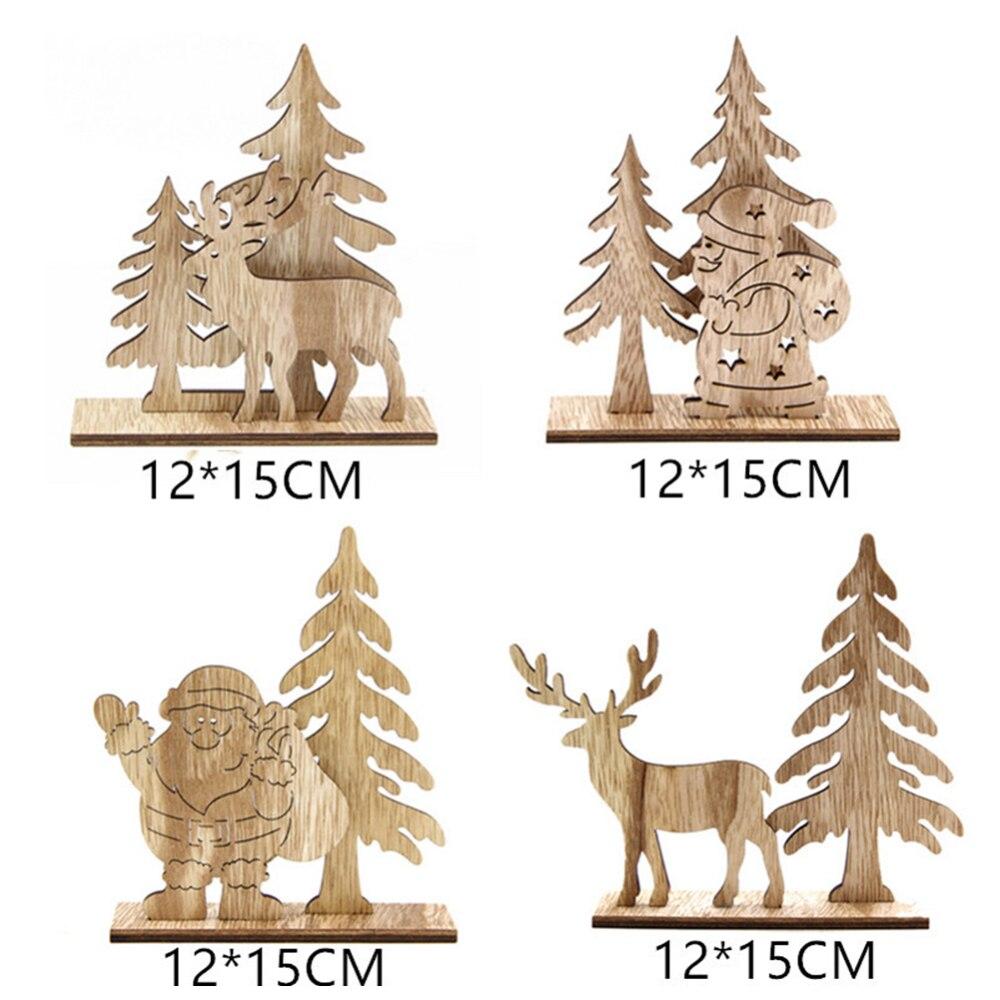 Adornos de árbol de Navidad de alce de madera de Año Nuevo manualidades Decoración de mesa decoración de Hotel Celebración de Navidad decoración para el hogar - 6