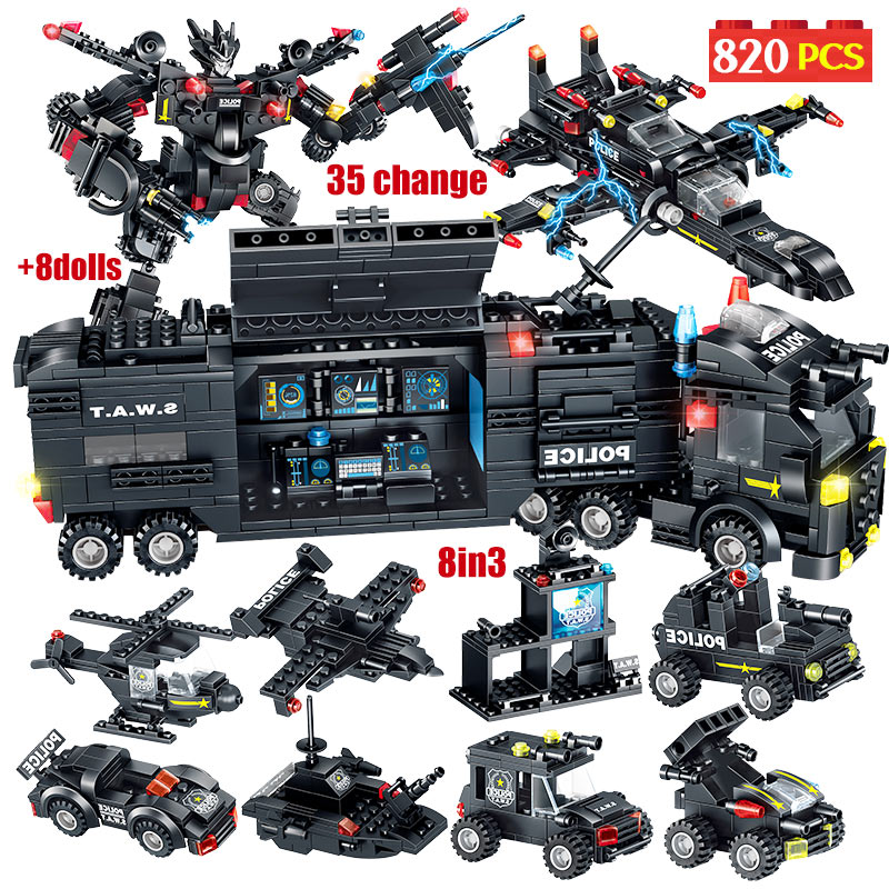 820pcs Technic Car City SWAT Team Truck Robot Building Blocks Legoing City Police Station Helicopter Blocks Toy For Kids Boys