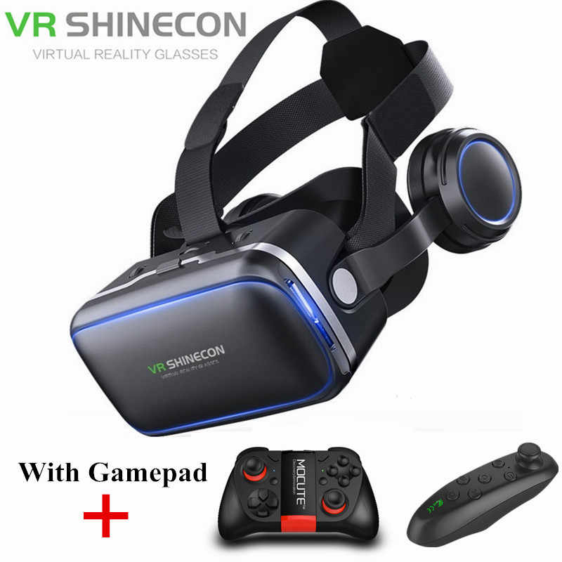 Shinecon 6.0 3D VR Kacamata dengan Gamepad Virtual Reality Casque 3 D Kacamata Headset Helm Kotak untuk iPhone Android Controller
