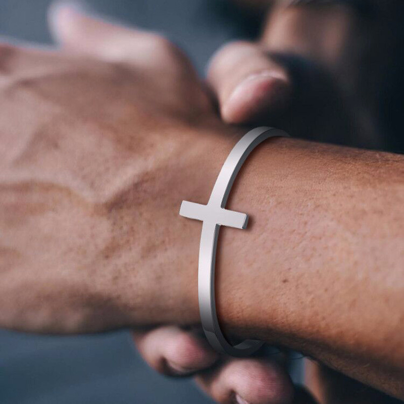 SILVERLY CROSS CUFF <font><b>BRACELET</b></font> STAINLESS STEEL SIDEWAYS CROSS <font><b>BRACELET</b></font> <font><b>OPEN</b></font> CUFF BANGLE FOR MEN UNISEX JEWELRY image
