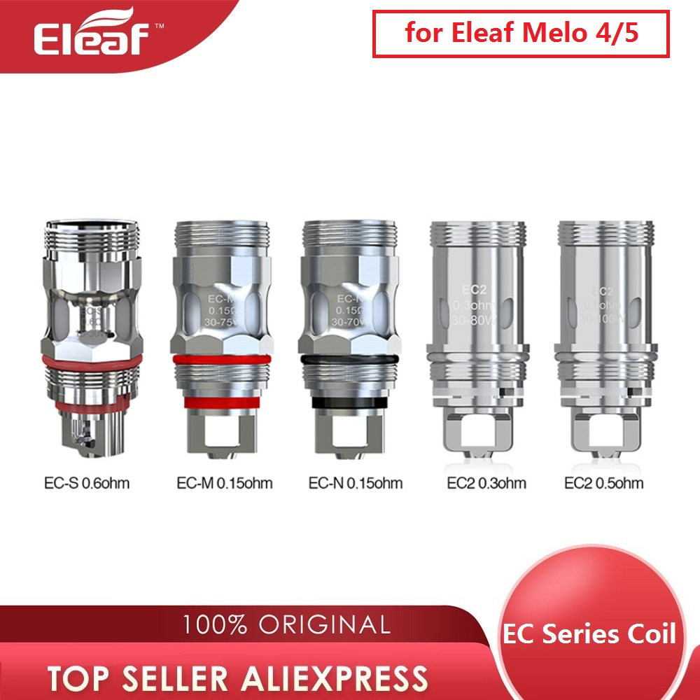 5pcs Original Eleaf <font><b>EC2</b></font> 0.3ohm/<font><b>0.5ohm</b></font> Head & 0.15ohm EC-M/EC-N / EC-S Eleaf EC Coil Head Fit for Melo 4 Atomizer/ Melo 5 image